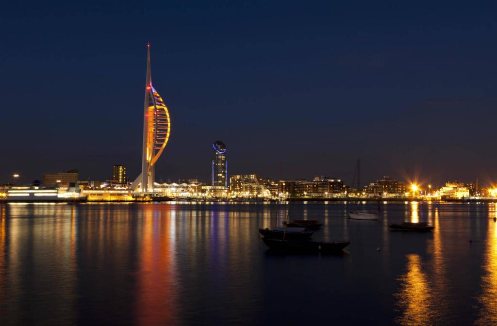 SEO in Portsmouth during the day and at night.